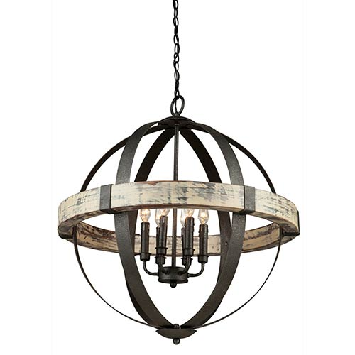 Castello Black and Aspen Wood Six-Light 26.5-Inch Wide Chandelier