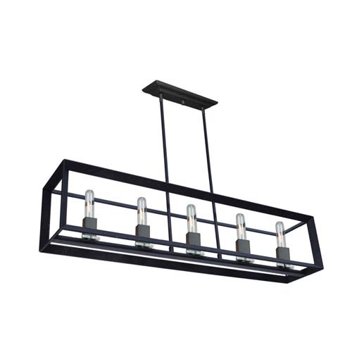 Artcraft Vineyard Matte Black Five-Light Island Pendant