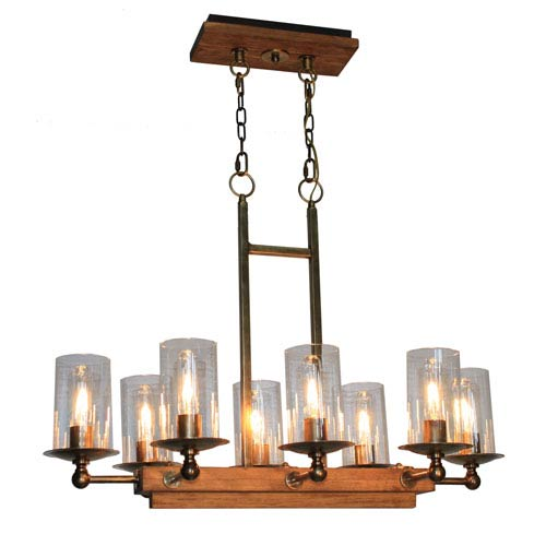 Legno Rustico Burnished Brass Eight-Light Chandelier
