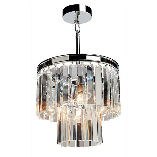 El Dorado Chrome Three-Light 12.5-Inch Wide Crystal Mini Chandelier