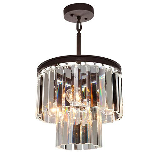 El Dorado Java Brown Three-Light 12-Inch Wide Crystal Mini Chandelier