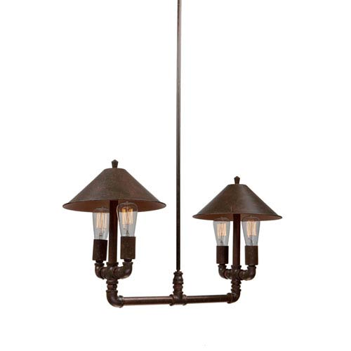 Revival Brown and Rust Four-Light Chandelier