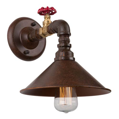 Revival Brown and Rust One-Light Wall Sconce