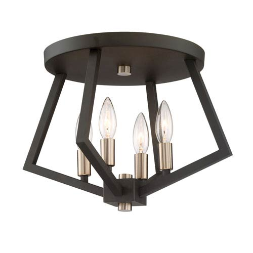 Breezy Point Bronze Four-Light Flush Mount