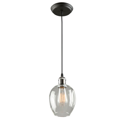 Artcraft Clearwater Polish Nickel and Black 6-Inch One-Light Mini Pendant