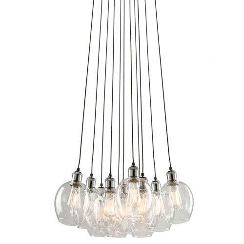 Clearwater Polish Nickel and Black 22-Inch Eleven-Light Chandelier