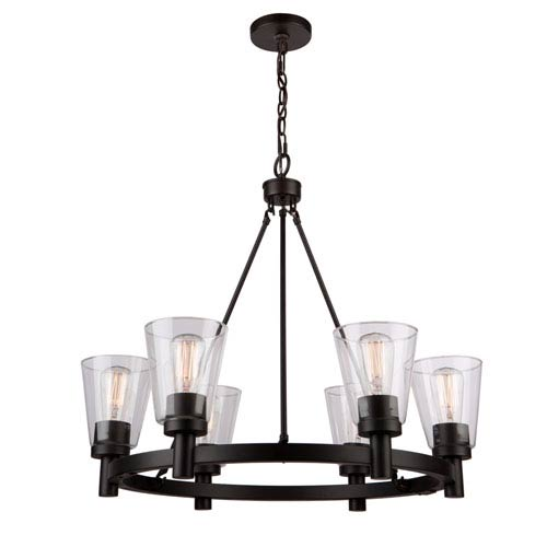 Clarence Oil Rubbed Bronze 34-Inch Six-Light Chandelier