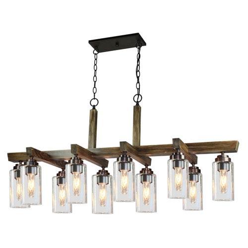 Home Glow Distressed Pine 10-Light Chandelier
