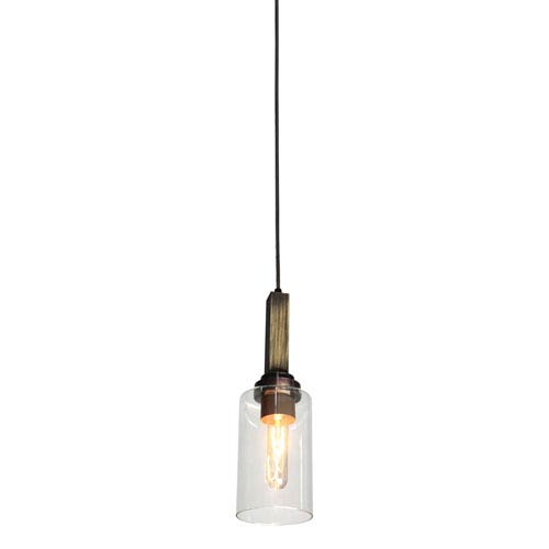 Home Glow Distressed Pine One-Light Mini Pendant
