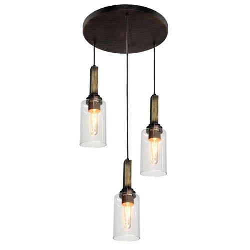 Home Glow Distressed Pine Three-Light Mini Pendant