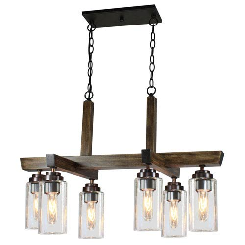 Home Glow Distressed Pine Six-Light Chandelier