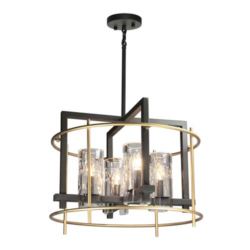 Riverview Oil Rubbed Bronze and Satin Brass Four-Light Chandelier