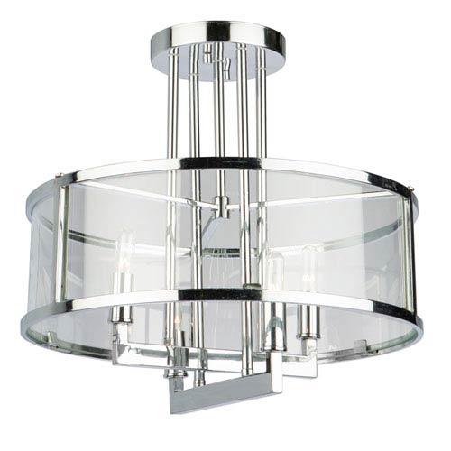 Brinkley Chrome Four-Light Semi Flush Mount