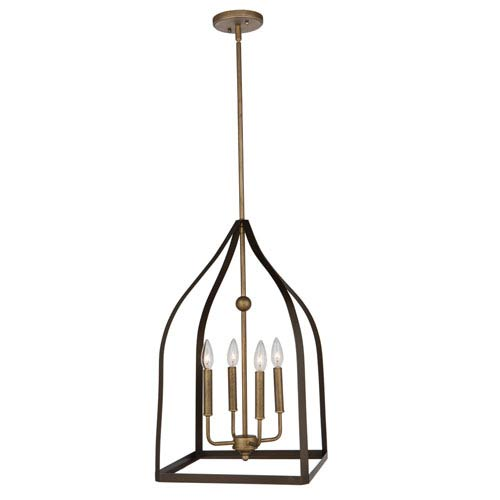 Worthington Oil Rubbed Bronze and Antique Gold 26-Inch Four-Light Pendant