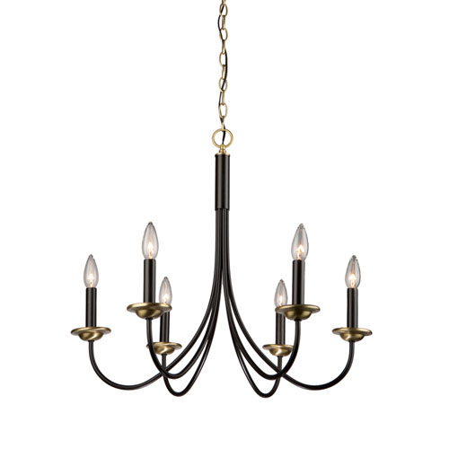 Wrought Iron Semi Gloss Black and Vintage Brass 25-Inch Six-Light Chandelier