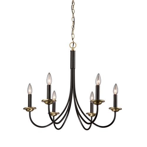 Black wrought iron chandelier bellacor artcraft wrought iron semi gloss black and vintage brass 25 inch six light chandelier aloadofball Gallery