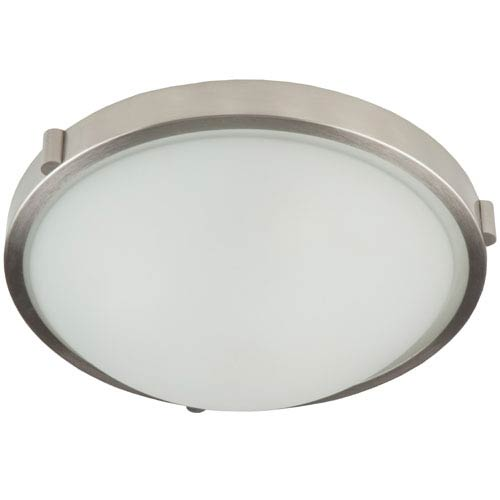 Boise Brushed Nickel Frosted Glass Three Light Flush Mount