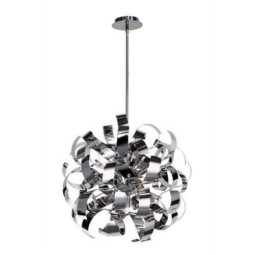 Bel Air Chrome and Brushed Aluminum Five-Light Pendant