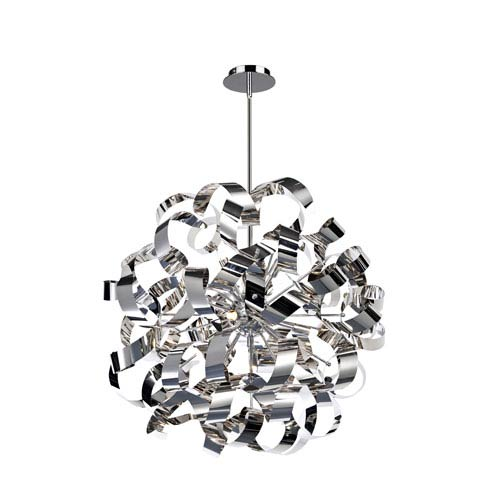 Bel Air 24-Inch Chrome and Brushed Aluminum 12-Light Pendant