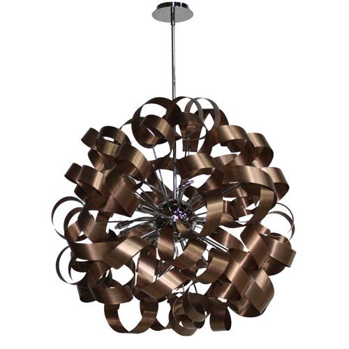 Bel Air Brushed Copper and Chrome 34-Inch Twelve-Light Pendant