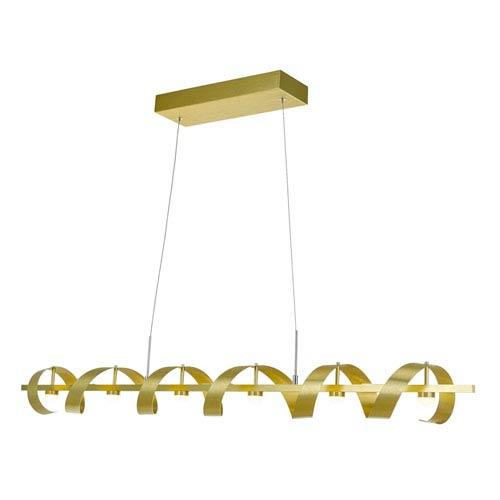 Artcraft Rolling Hills Brushed Brass Six-Light LED Linear Pendant