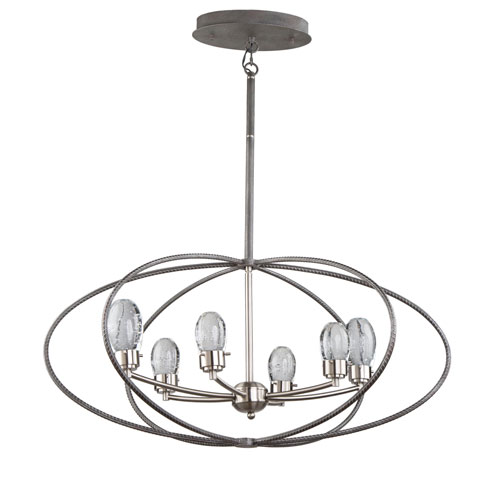 Kingsford Slate and Brushed Nickel 22-Inch Six-Light LED Chandelier