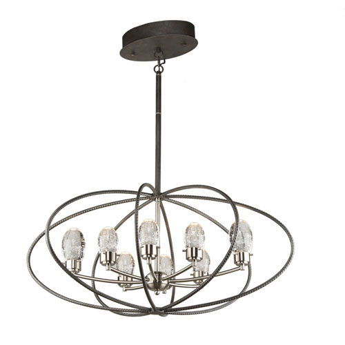 Kingsford Slate and Brushed Nickel 29-Inch Eight-Light LED Chandelier