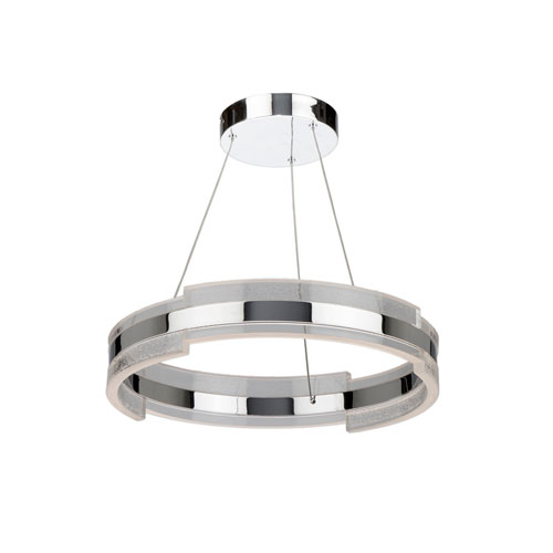 Saturn Chrome and Clear 20-Inch LED Pendant