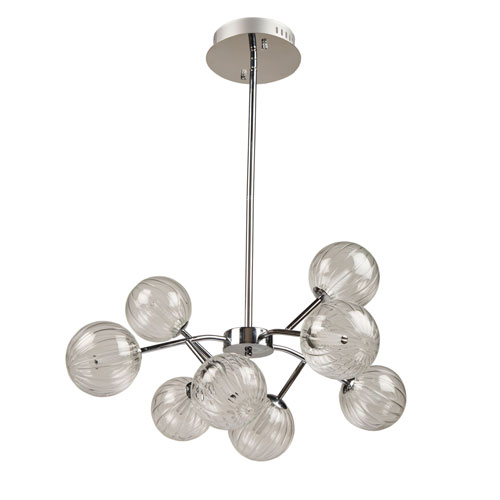 Nightstar Chrome 30-Inch Eight-Light LED Chandelier