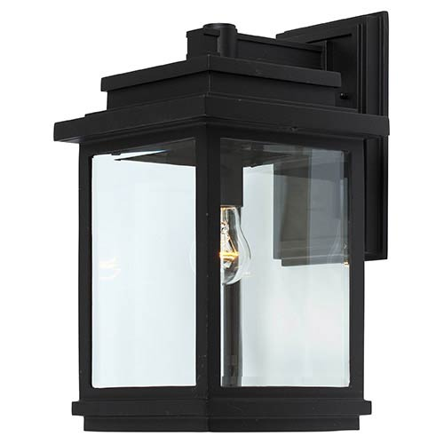 Fremont Black One-Light 9-Inch Wide Outdoor Wall Sconce with Clear Three Side Glass