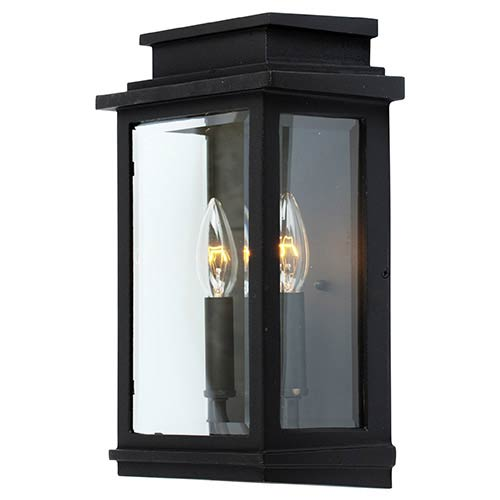 Black contemporary outdoor wall lighting free shipping bellacor fremont black two light 135 inch high outdoor wall sconce aloadofball Images