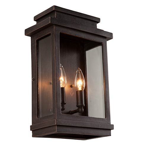 Fremont Oil Rubbed Bronze Two-Light 13.5-Inch High Outdoor Wall Sconce