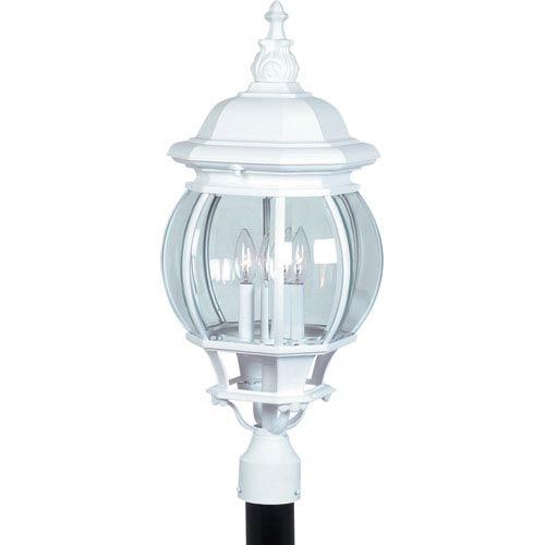 Classic Four-Light White Outdoor Post Mount Light