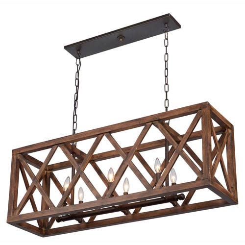 Collingwood Walnut Six-Light Island Fixture