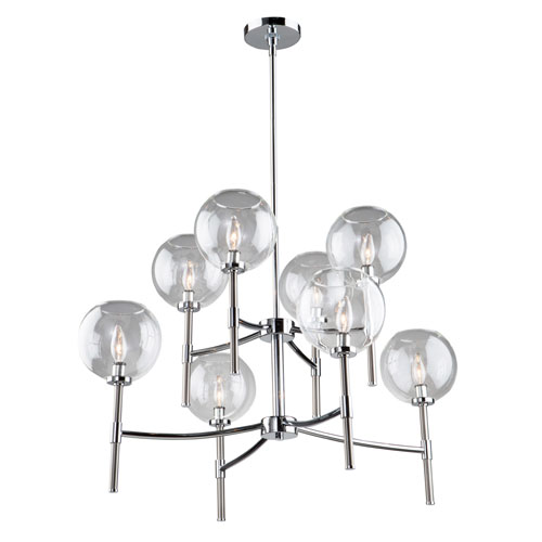 Artcraft Hamilton Chrome and Brushed Nickel 34-Inch Eight-Light Chandelier