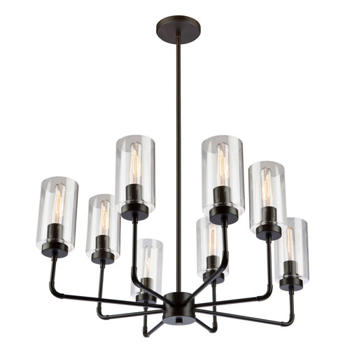 Ray Oil Rubbed Bronze 25-Inch Eight-Light Chandelier