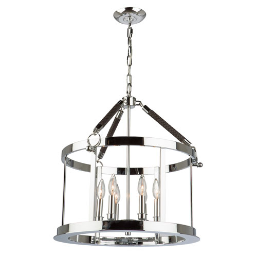 Dover Chrome and Brown 21-Inch Six-Light Pendant
