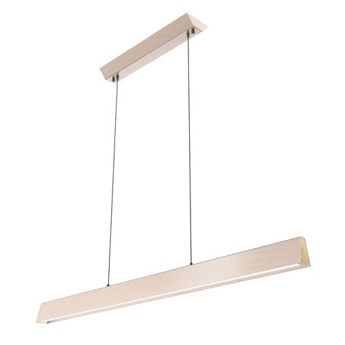 Flair Satin Nickel 48-Inch LED Linear Pendant with Maple End Cap
