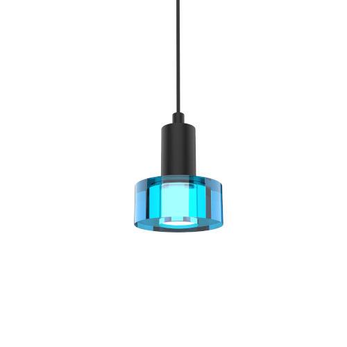Matte Black and Gel Blue Integrated LED Mini Pendant