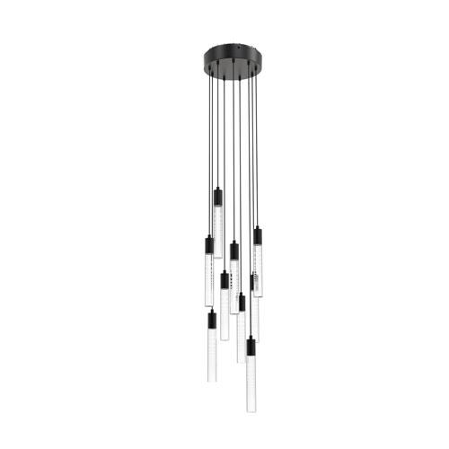 Seraph Matte Black One-Inch LED Nine-Light Pendant with Gradient Glass