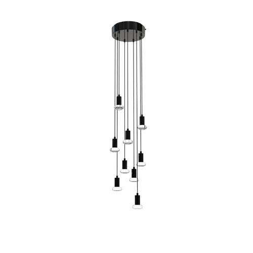 Seraph Matte Black Eight-Inch LED Nine-Light Pendant with Mushroom Glass