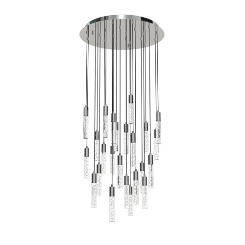 Seraph Polished Chrome One-Inch LED 24-Light Pendant with Bubble Glass