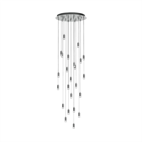Blackjack Lighting Seraph Polished Chrome One-Inch LED 24-Light Pendant with Short Glass