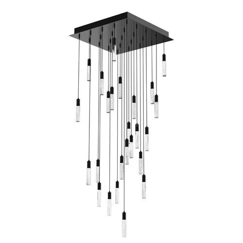 Blackjack Lighting Seraph Matte Black One-Inch LED 25-Light Pendant with Bubble Glass