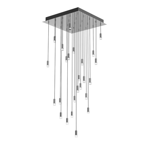 Seraph Polished Chrome One-Inch LED 25-Light Pendant with Short Glass