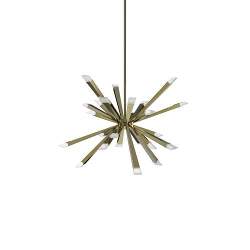 Starburst Brushed Brass LED 24-Light Pendant