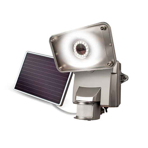 Silver Motion-Activated Solar LED Security Floodlight