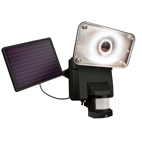 Black Motion-Activated Solar LED Security Camera and Floodlight
