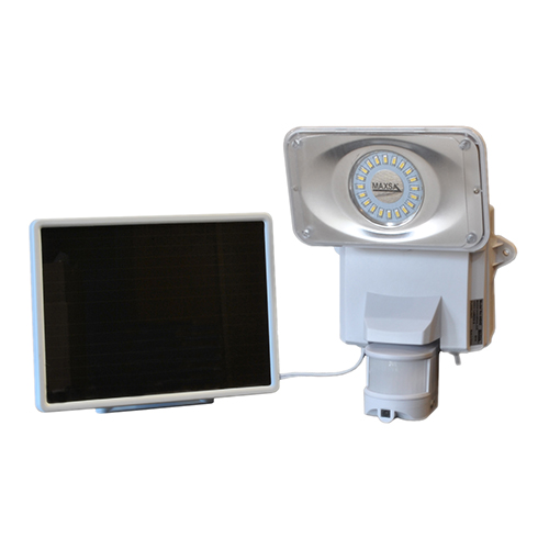 White Motion-Activated Solar Security Camera and Floodlight