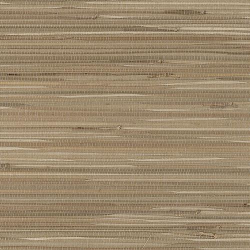Regular Buddle Brown and Beige Grasscloth Wallpaper